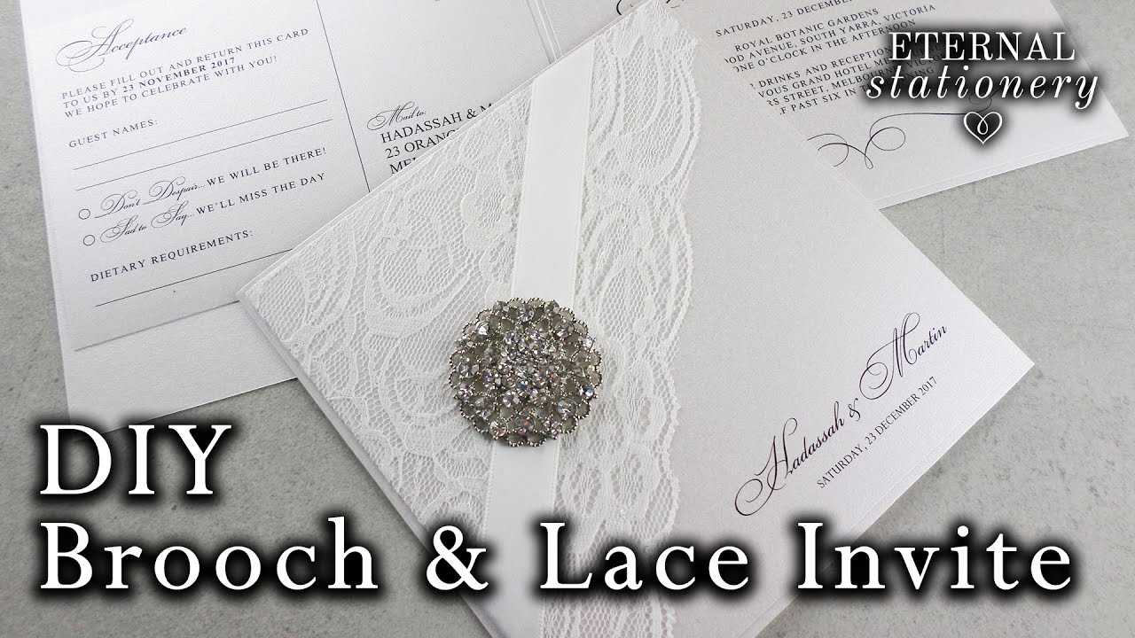 DIY Wedding Invitation - elegant brooch and lace | How to ...