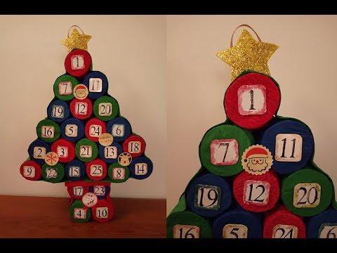 Calendario Avvento Con Rotoli Carta Igienica.Calendario Dell Avvento Albero Di Natale Con I Rotoli Di Carta Igienica