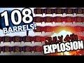 EPIC Explosion in Sea of Thieves- 108 gunpowder barrel chain reaction - gunpowder skeletons!!