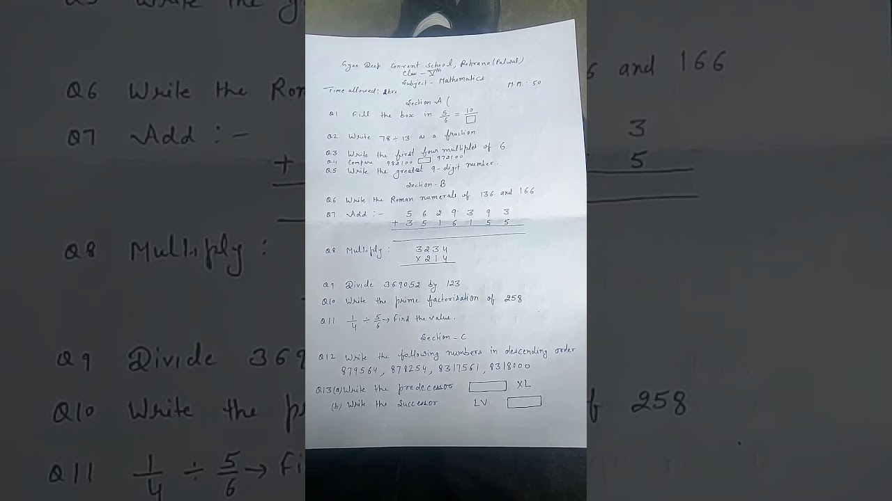Class 5th Maths paper - YouTube