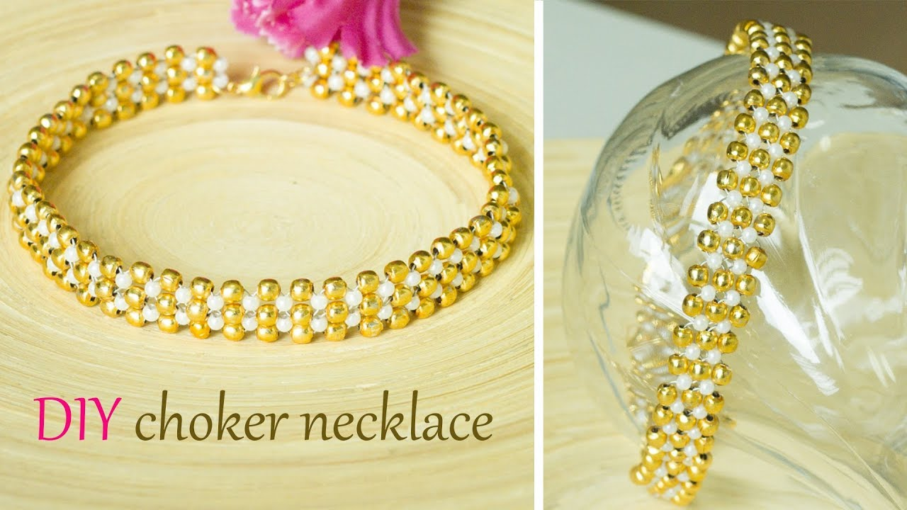 How to make pearl and gold choker necklace easy and for Pearl arts and crafts closing