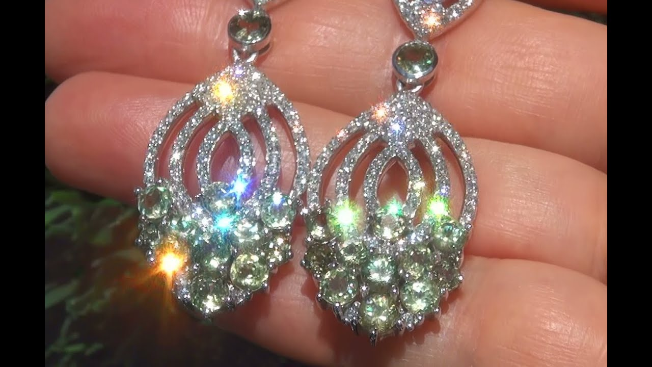 Gia Certified Natural Demantoid Garnet Diamond Platinum Estate Earrings C812