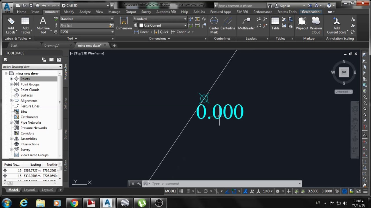 AutoCAD Civil 3D | Create Coordinate points and get them in a table