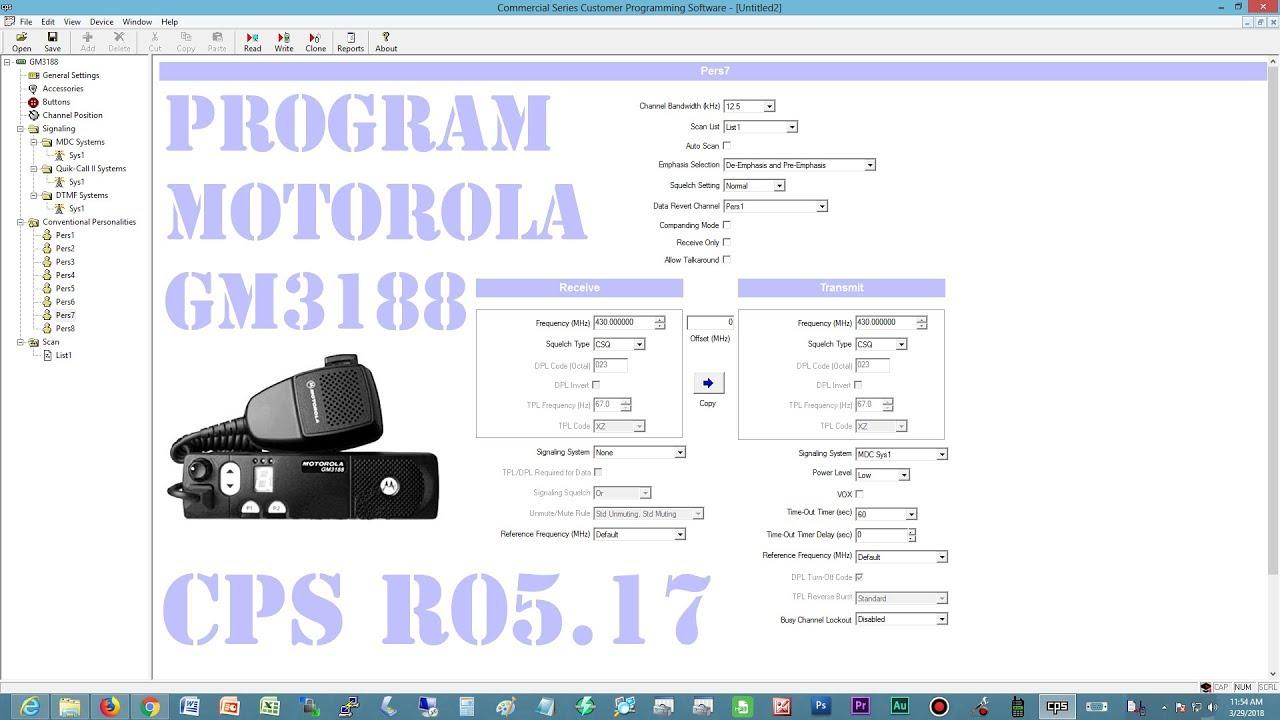 Program motorola gm3188 dengan software CPS versi R05 17 #cps #motorola  #gm3188 #rig #radio