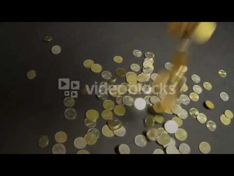 Macedonian money coins falling in slow motion Metal coins from Macedonia Stock Video Footage   Video