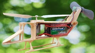 How to make an Electric helicopter who made from ice cream wood
