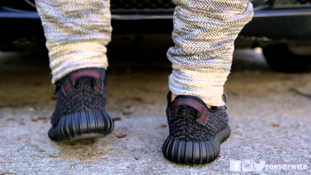 6d506ecfc2783 adidas 2016 collection yeezy boost 350 pirate black on feet