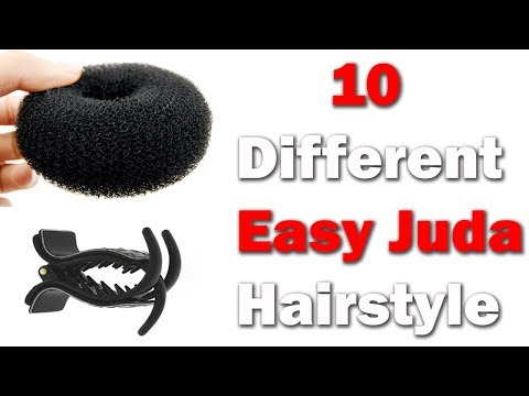 10 easy juda hairstyle with in 1 donut || quick hairstyles || simple Hairstyles || hairstyles thumbnail