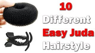 10 easy juda hairstyle with in 1 donut || quick hairstyles || simple Hairstyles || hairstyles