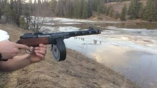 Стрельба очередью из охолощенного ППШ-СХ в Slow Motion