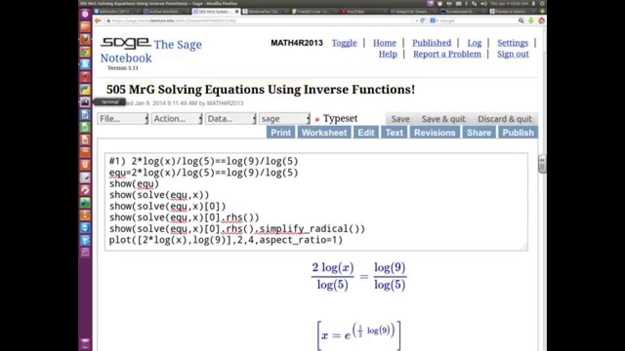preCalculus (SAGE) 505 How to solve equations using inverse ...