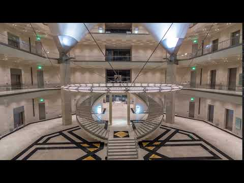 Inside view of the iconic Museum of Islamic Art building timelapse hyperlapse