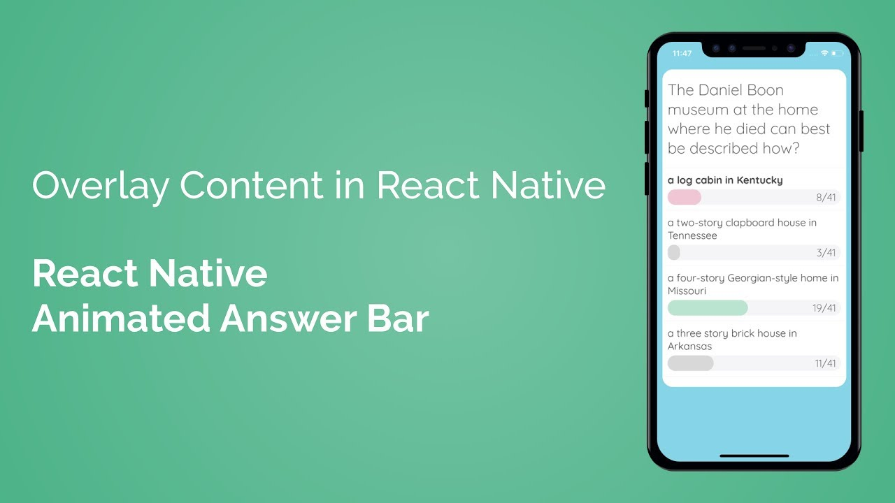 Overlay Content in React Native (React Native Animated Answer Bar - Part  4/7)