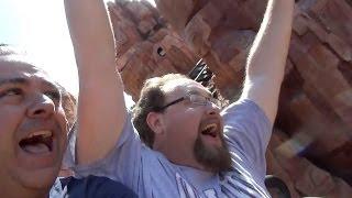 Robb Alvey & Banks Lee ride the Mine Train at Walt DIsney World Magic Kingdom