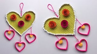 DIY Plastic Bottle Wall Hanging!!! craft idea out of wool/Hanging,Paper & Woolen | Heart craft