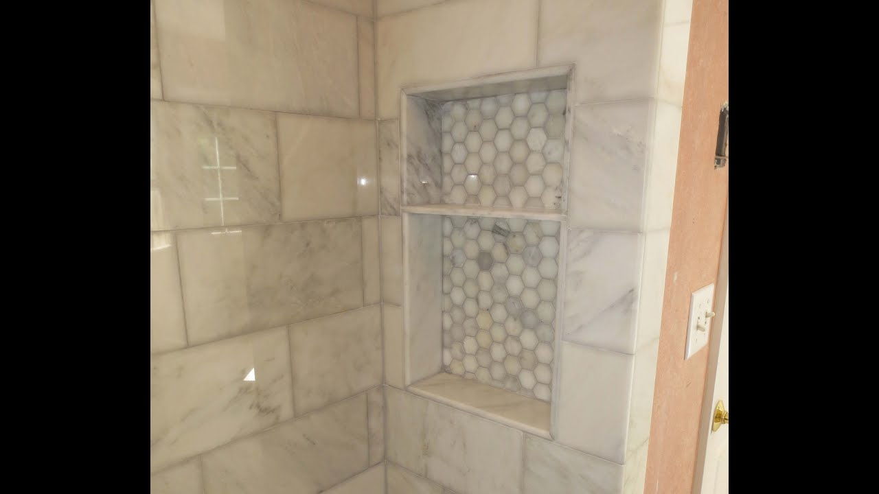 Marble carrara tile bathroom part 4 shower niche a few tips youtube dailygadgetfo Choice Image