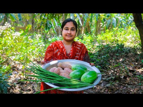 Vegetable Recipe: Drumstick, Eggplant & Potatoes Curry Cooking Recipe in Village Food Factory