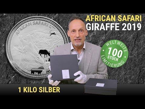 1 KG SILBER - AFRICAN SAFARI GIRAFFE 2019 - 100 STÜCK