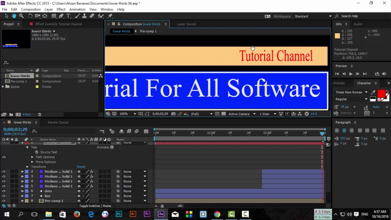 After Effects CC 2017 2018 2019 - Lower Thirds 04 (Class 12)