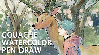봄날, 벚꽃 그리고 그림 ( water color / gouache / with 달수 )