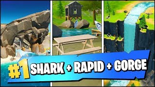 VISIT THE SHARK, RAPID'S REST, AND GORGEOUS GORGE LOCATIONS (Fortnite Season 2 Week 7 Challenges)