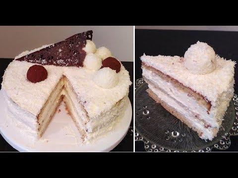 recette-du-gâteau-raffaello-/coconut-raffaello-cake/-génoise-amande,-crème-chocolat-coco