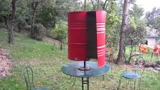 Homemade VAWT savonius wind turbine.