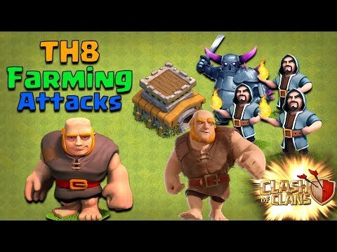 TH8 BEST FARMING ATTACK STRATEGY - Easy Loot Attacks without DE Troops - Clash of Clans