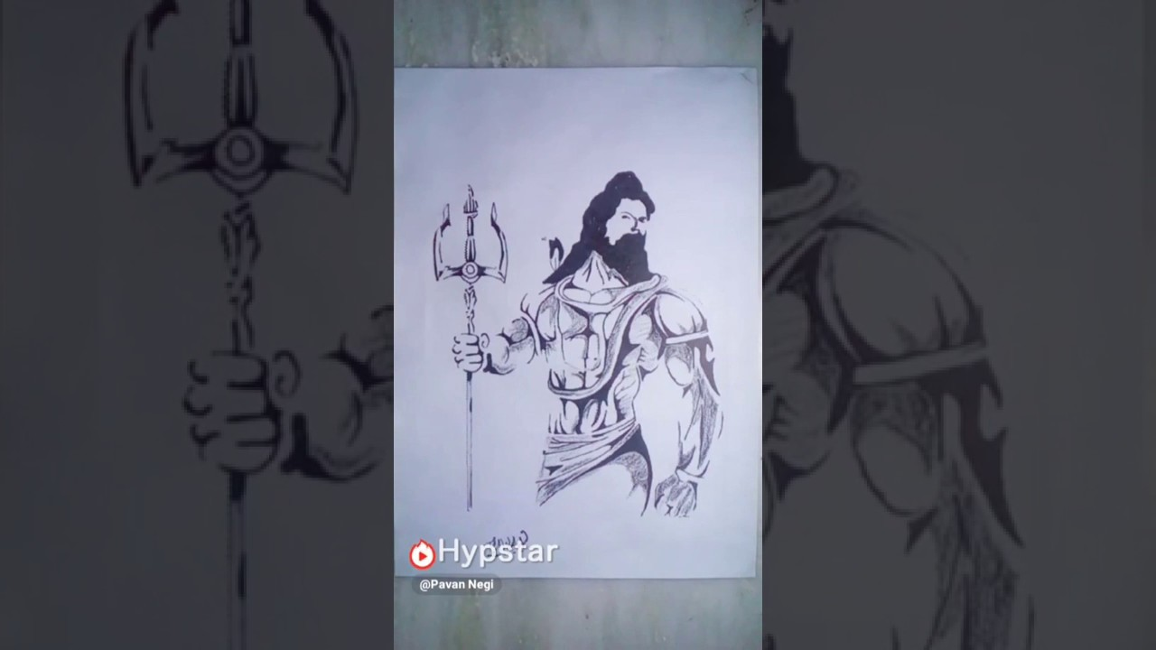 Draw lord shiva pencil art you also use on your whatsapp status