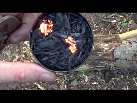 Easy and fast way to ligh a fire with Flint and Steel : Charred Punk Wood