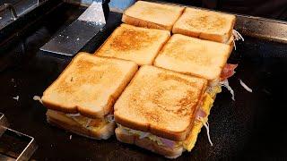 crispy cheese bacon toast / 바삭한 치즈 베이컨 토스트 / korean street food
