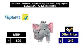 Teddycute Teddy Cute Cute Mother Elephant With 2 Baby Elephant Stuffed Soft Toy For BabyChild 40CM