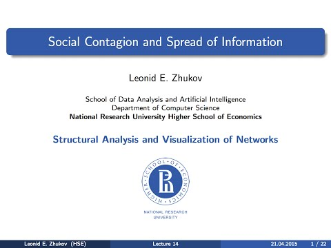 Network Analysis. Lecture 14.  Social contagion and spread of information.