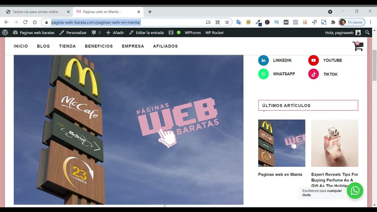 Formación de páginas web baratas