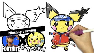 [Fortnite X Pokemon] Sun Strider + Pichu | Mashuup Drawing | How to Draw Fortnite Skins