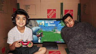 FORTNITE BOX FORT CHALLENGE WITH MY 5 YEAR OLD LITTLE BROTHER! | CARDBOARD BOX FORT WITH LITTLE KID