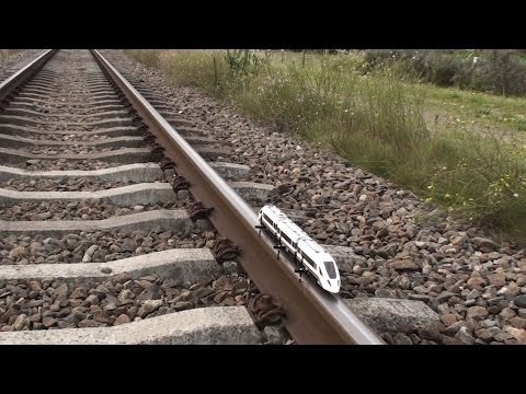 Lego train 60051 on real train tracks