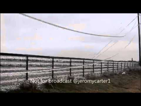 Massive ice build up on power lines Oklahoma city