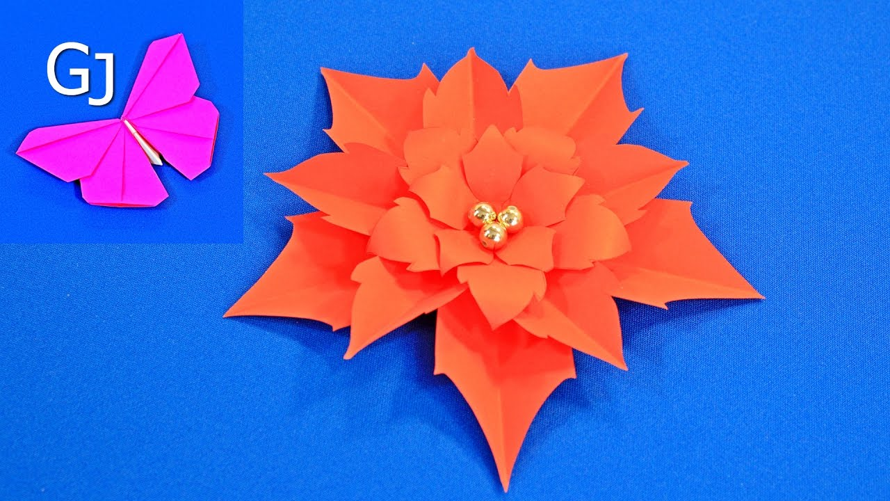 Оригами цветы из бумаги ️ РОЖДЕСТВЕНСКАЯ ПУАНСЕТТИЯ - YouTube