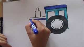How to draw a TRACTOR - easy 5 min. drawing for your kids....