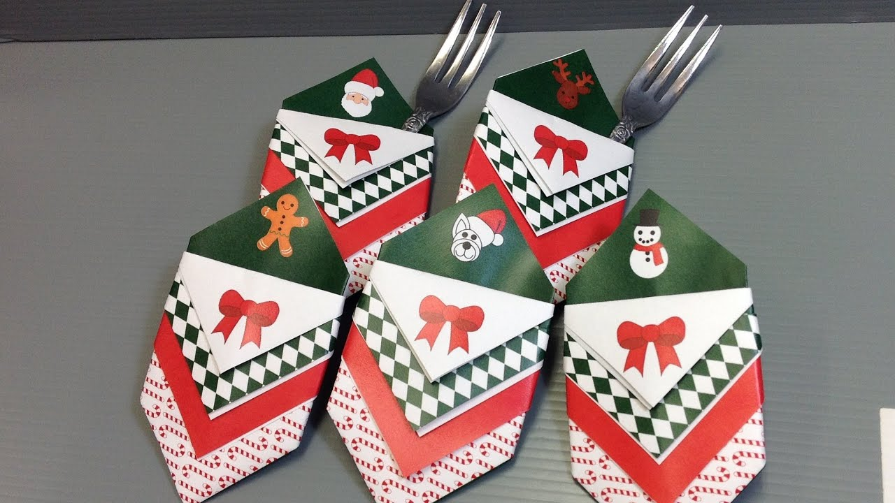 christmas utensil silverware holder origami make your own youtube - Christmas Silverware Holders