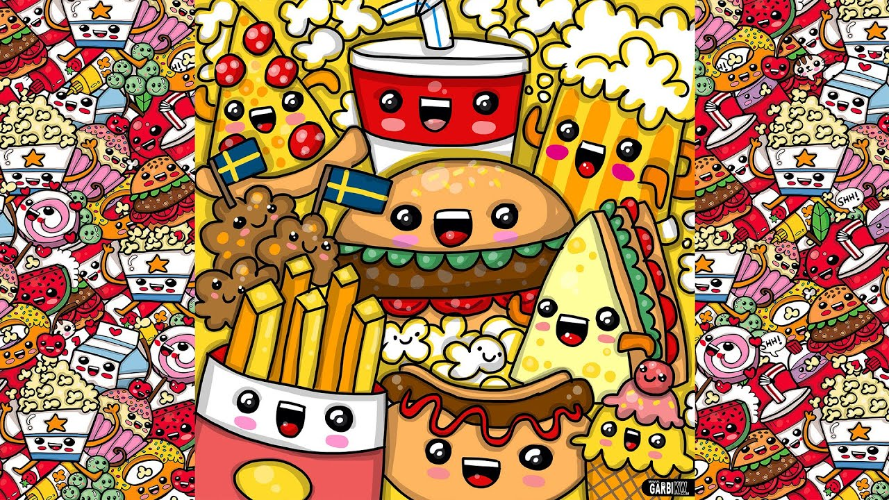 How To Draw Party Kawaii Fast Food By Garbi Kw Youtube