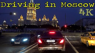 Driving in Moscow at Night 4K with Music