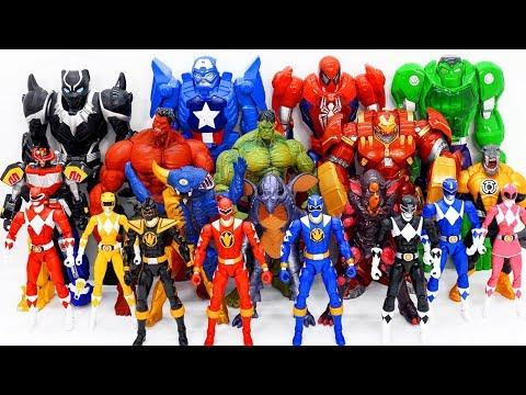 Power Rangers & Marvel Avengers Toys Pretend Play   Super Hero Zord vs Monster Army Rescue City