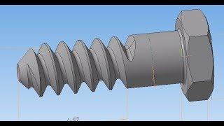 Компас 3D уроки - Болт с резьбой по ГОСТ (Параметризация и добавление в свою библиотеку)