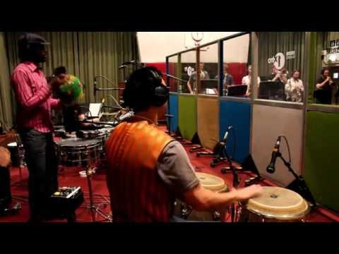 London Afro Beat Funk collective AWALE recording live session at legendary BBC Maida Vale studios, London, UK