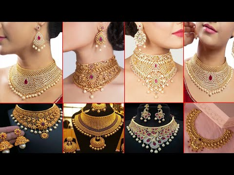 Latest Light Weight Gold Choker Necklace Designs Cz Choker Necklace Earrings Tf Youtube