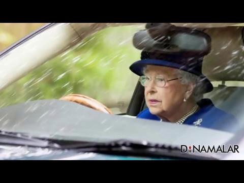 91- Year- Old Queen Elizabeth driving her Jaquar Car