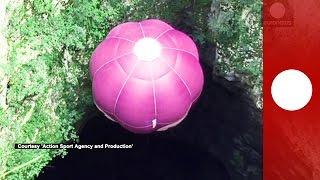 Flying underground: First hot air balloon flies into Mamet cave in Croatia