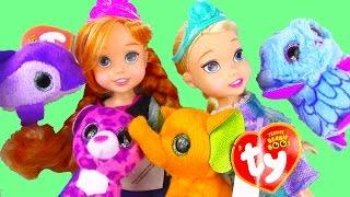 Disney Frozen Queen Elsa Princess Anna Toddlers Open Ty Teenie Beanie Boo's Mcdonalds Happy Meal Toy